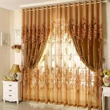Gold Color Curtains Ready Jacquard Print Peony Curtains With Gold Voile Color