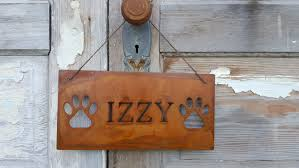 dog sign pet name customized metal sign rustic pet signs