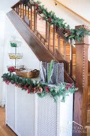 Christmas Railing Decorations Stairway Decorations Stairway Decorated With Christmas Garland