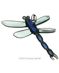 glass figurine green and blue glass dragonfly ornament
