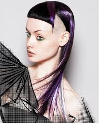 long black straight coloured multi tonal avant garde purple shaved