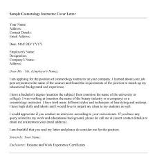 brilliant ideas of cover letter for cosmetology instructor resume