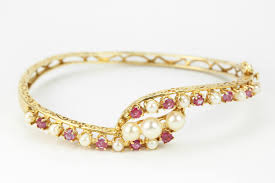 gold pearl bangle bracelet images 2 25cts ruby pearl bangle bracelet 14k j r jewels jpg