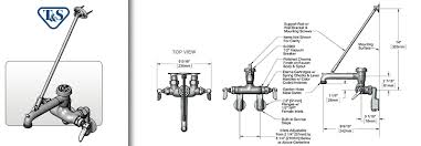 T S Mop Sink Faucet B 0667 Pol Service Sink Faucet Wall Mount Adjustable Centers