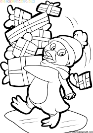 christmas penguin coloring pages pictures christmas penguin