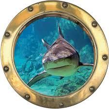 stickers trompe oeil mural sticker hublot trompe l u0027oeil déco requin art déco stickers