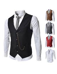 angcoco s sleeveless chain point casual slim fit blazer suit