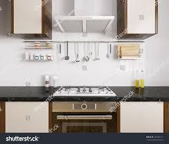 modern kitchen utensils modern kitchen black granite counter ovengas stock illustration