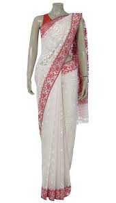 arong saree ivory and half silk jamdani saree