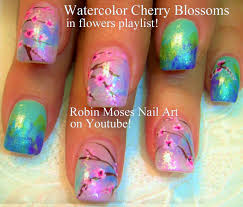 easy cherry blossom nails watercolor nail art design tutorial