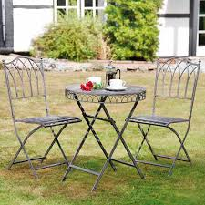 Grey Bistro Table Furniture Wash Grey Steel Table And Two Chair Bistro Set