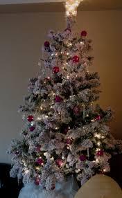 pink flocked christmas tree christmas lights decoration