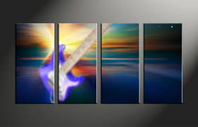 4 piece colorful canvas guitar music multi panel art