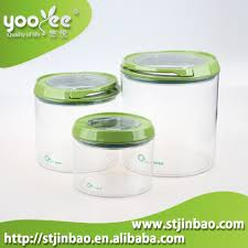 airtight round clear cereal plastic dry food container with sealed