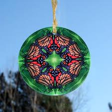 butterfly glass suncatcher geometric mandala kaleidoscope monarch