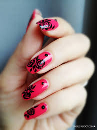 black nail art black roses nail art projects to try