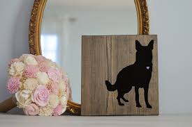 hand painted german shepherd silhouette on stained wood dog