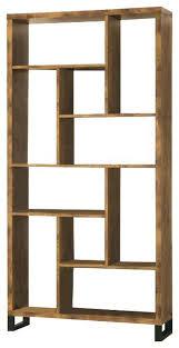 six shelf bookcase studio dark brown six shelf modern bookcase