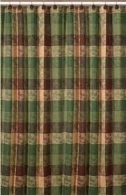 Green Plaid Shower Curtain Pinecone Shower Curtain Foter