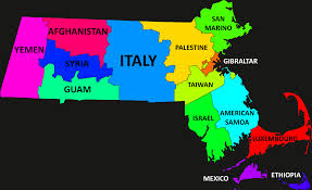 Massachusetts Flag A Map Showing The Flags Of Countries Overlaying Massachusetts