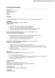 Plumber Resume Sample by Construction Resume Examples Construction Resume Example
