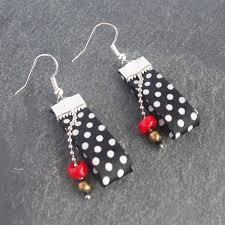 rockabilly earrings white peas satin binding earrings rockabilly earrings 10 00