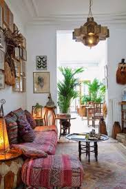 living room with moroccan decor and houseplants bold and vibrant