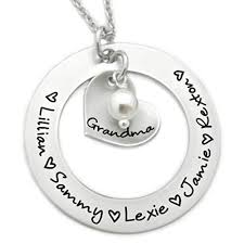 pearl necklace names images Custom washer necklace with names and synthetic pearl jpg