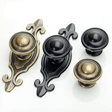 Vintage Kitchen Cabinet Knobs Dresser Knobs Handles Drawer Knobs Pulls Handles Back Plate Black