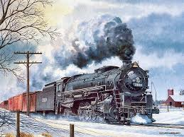 train engine watercolor painting trains