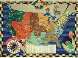 United States Map Poster by 1938 Ncaa College Football Map Illustrated Large Full Color