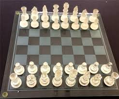 glass chess set bombay company 33 pieces clear frosted glass
