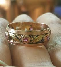 floral wedding band 1940 s ruby and 14k gold floral wedding band loupe troop