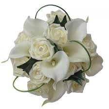 Calla Lily Bouquets Bridesmaids Ivory Diamantie Rose With Ivory Calla Lily Bouquet