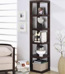 high corner brown wooden shelves for picture and ornaments