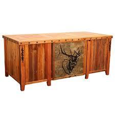 barnwood elk tile executive desk with tree carving