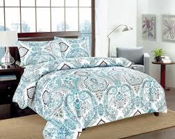 Paisley Duvet Cover Set Tache 3 2 Pc Cotton Frozen Forest Blue White Paisley Floral Cotton