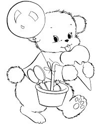 holidays teddy bear eating ice cream coloring pages coloring sky