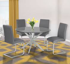 dining room table ls mystere gray tempered glass top round dining room set from armen