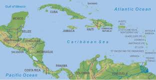 central america physical map maps central america the caribbean