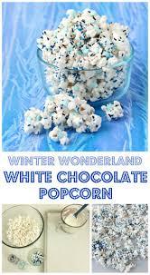 winter wonderland frozen white chocolate popcorn with snowflakes