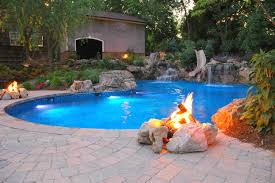 decor firepit and patio pavers with pool design also waterfall