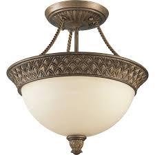 Flush Mount Stained Glass Ceiling Light Shop Progress Lighting Savannah 13 In W Burnished Chestnut Tea