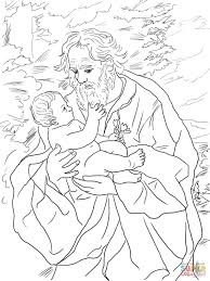 saint joseph with the infant jesus coloring page free printable
