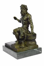 Contemporary Indoor Water Fountains by Bronzioni Bronzioni Signed Phidias Poseidon Greek Sea God Bronze