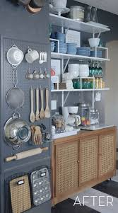 pegboard ideas kitchen before and after an wall to open kitchen storage pegboard