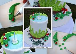swamp party birthday cake with alligators free tutorial my cake