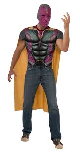 Marvel Halloween Costume Vision Shirt Mask Mens Fancy Dress Superhero Marvel Adults