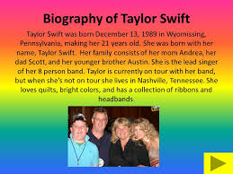 biography of taylor swift family on tour with taylor swift this presentation will take you on tour