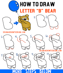 how to draw a cartoon bear holding a balloon floating up easy from